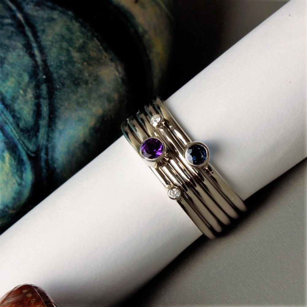 Unusual Diamond Platinum Stacking Rings