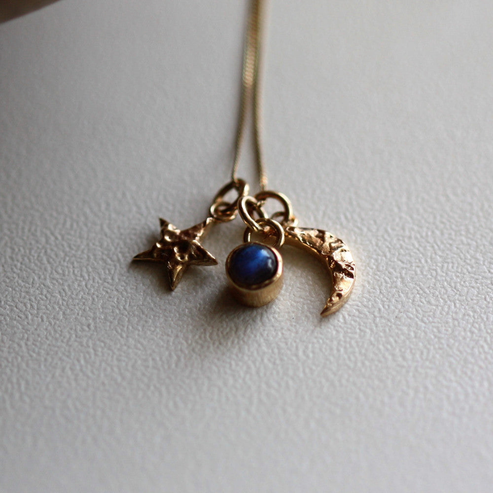 Solid gold star moon and labradorite universe charm necklace