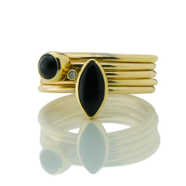 black and gold wild flower onyx and diamond stacking rings