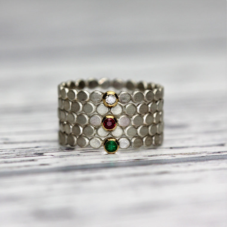 handmade gold, silver emerald, diamond and ruby stacking rings