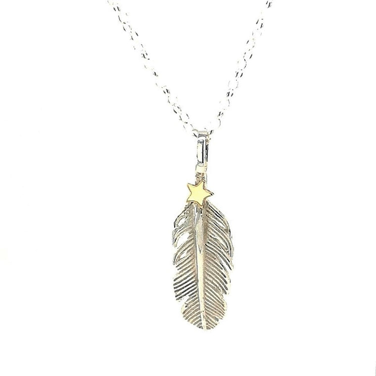 9ct gold star and silver feather necklace