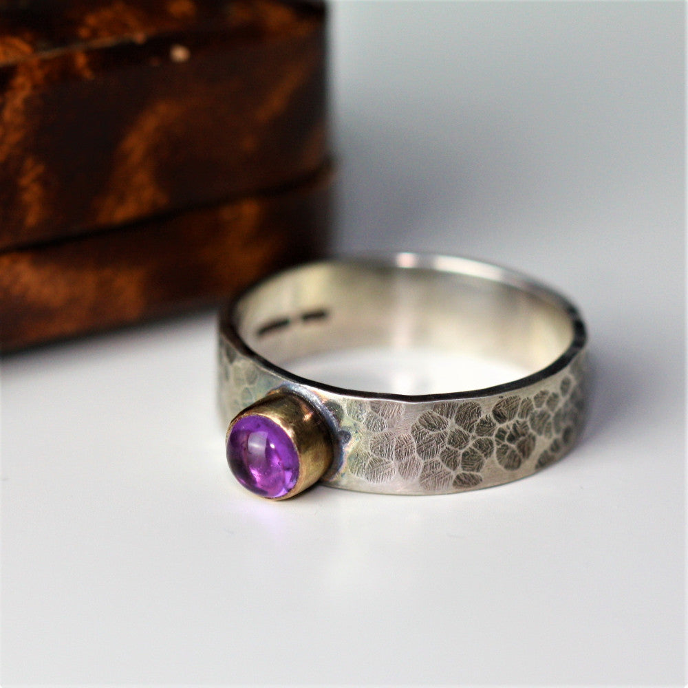 Silver hammered wide band Amethyst gemstone gold blossom ring