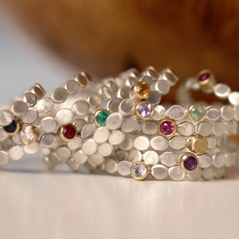 Handmade dainty silver and gold birthstone stackable rings