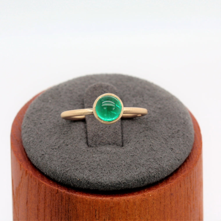 Emerald Wild Flower Gold Ring - 6mm