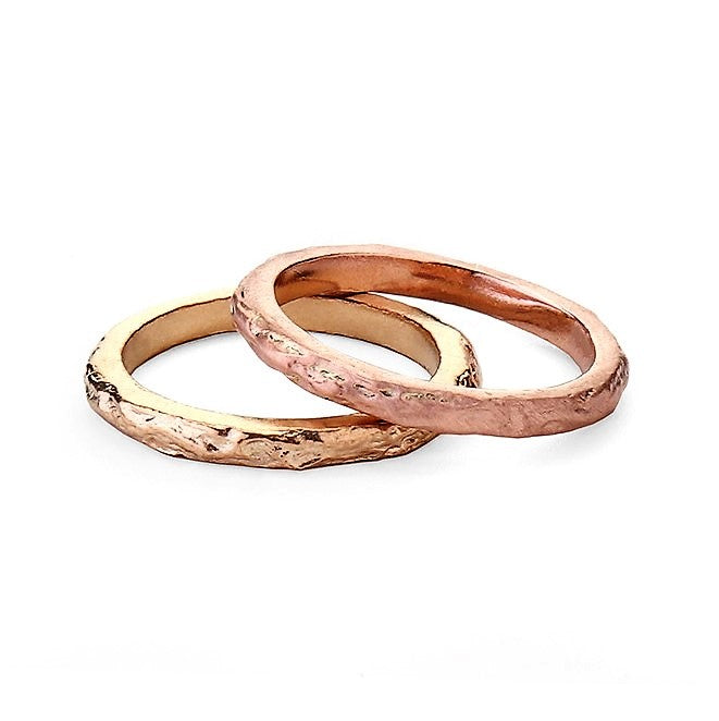 Textured Rose gold and Yellow Gold Treasure Wedding Rings