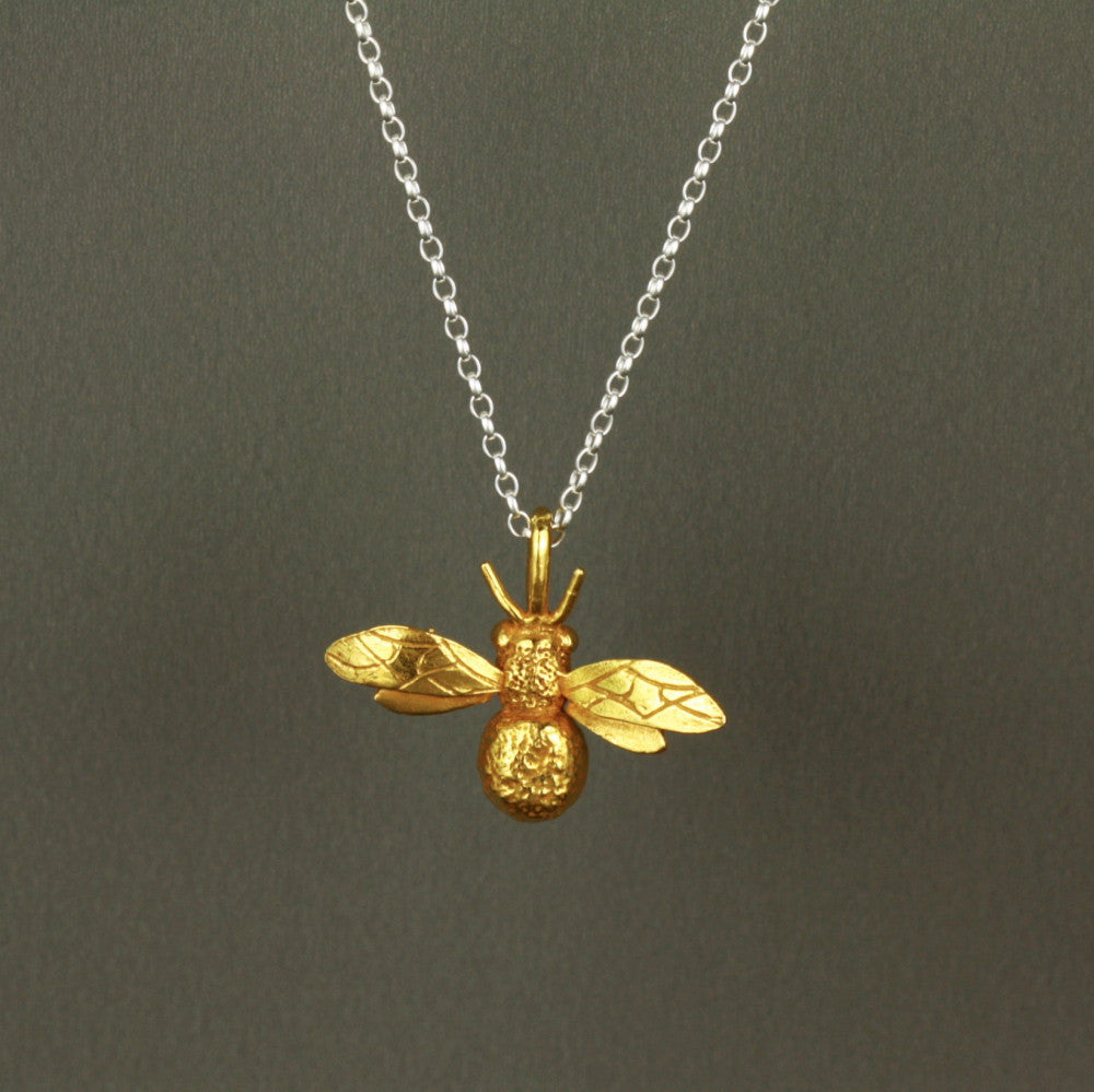 products the bee silver necklace butterfly vermeil and