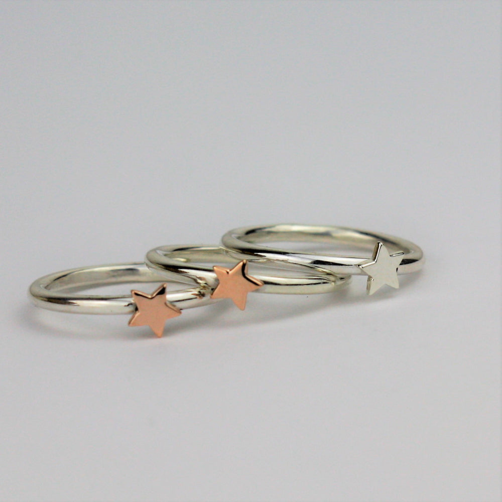 Rose gold star ring , yellow gold star ring and silver star ring