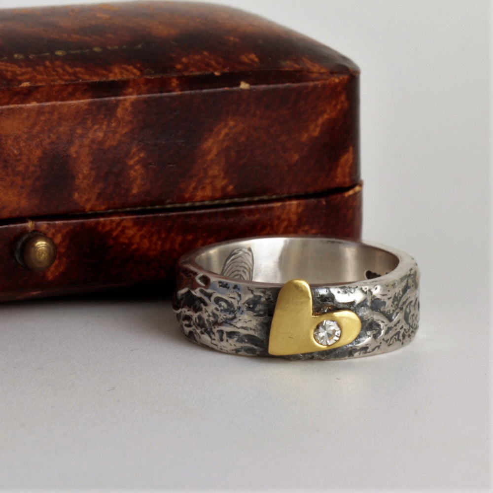 Gold Rustic Heart and Flush Diamond, Textured Wide Silver Ring