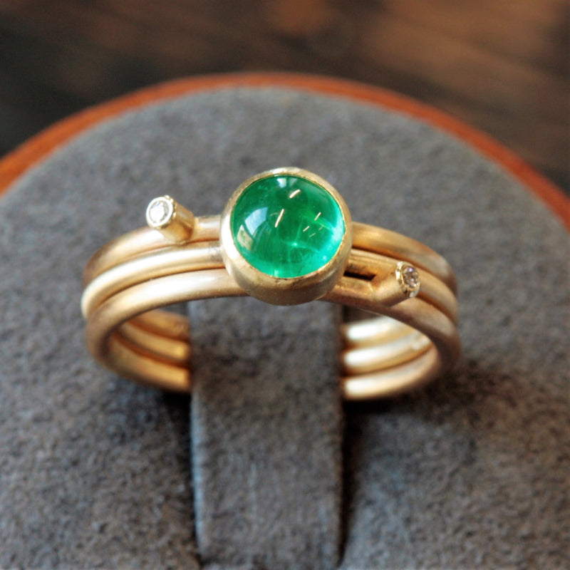 Emerald Birthstone Gold Midi Stacking Ring Set