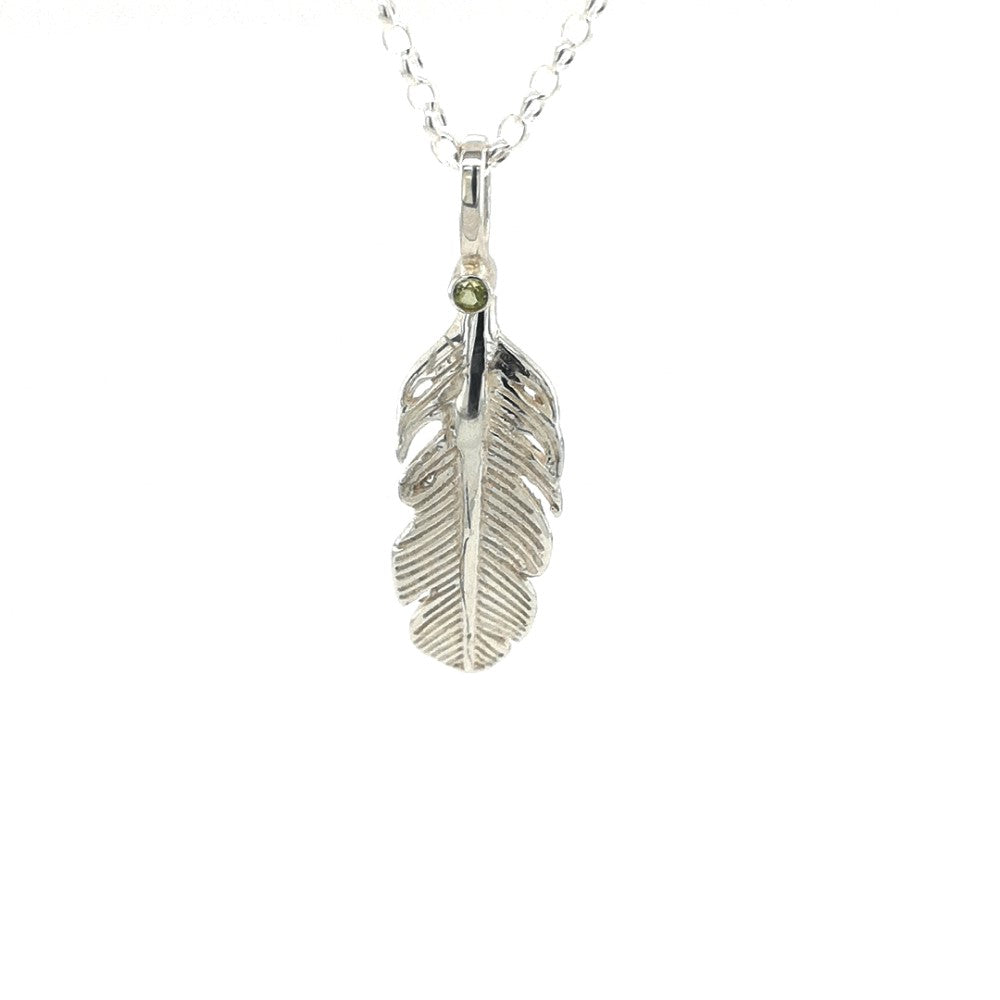 Peridot gemstone Angel Feather Necklace