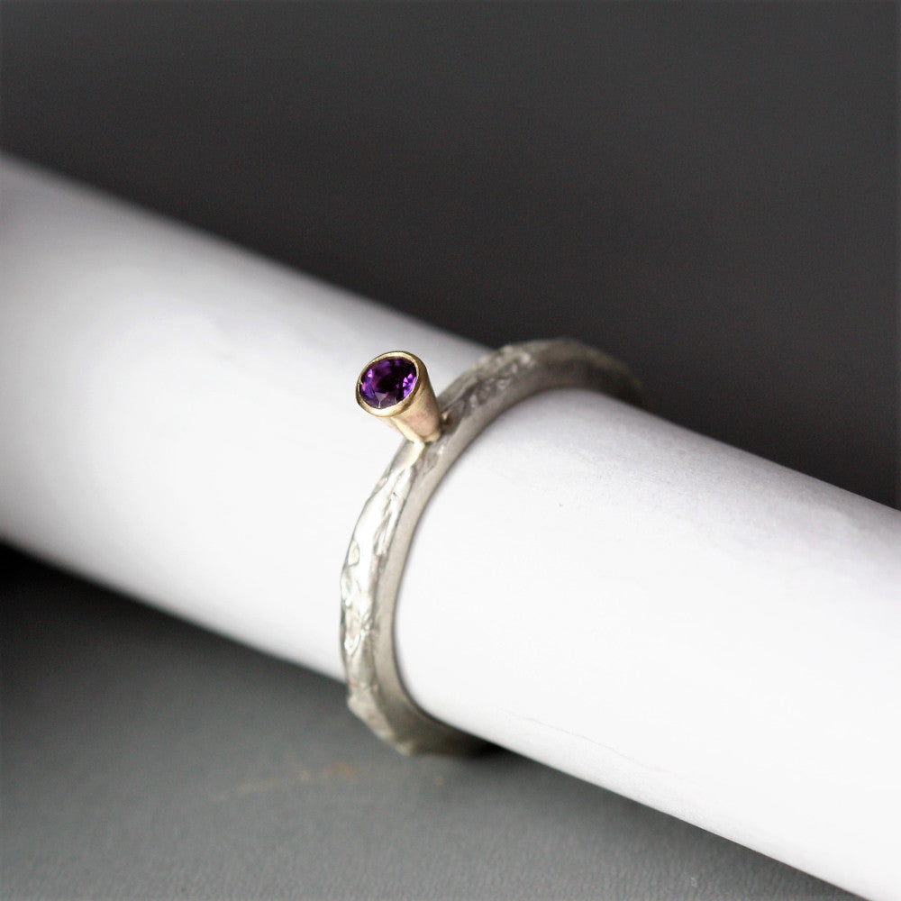 February Amethyst silver and gold birthstone ring
