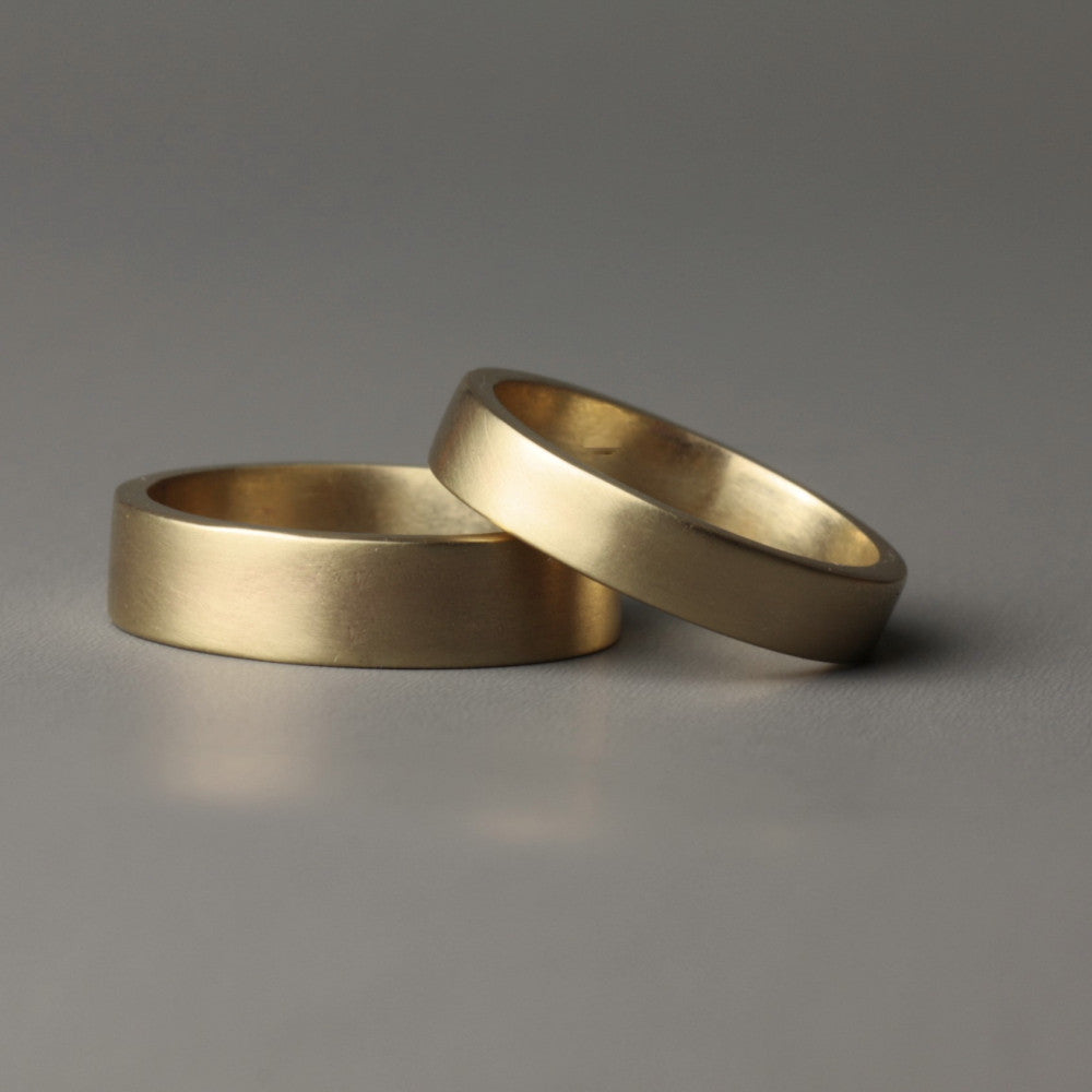 Organic Gold Flat band handmade Wedding Ring