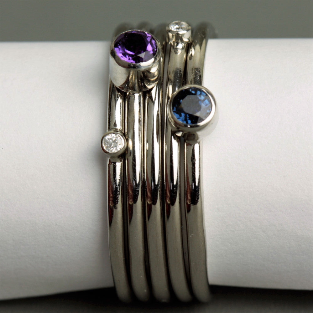 Luxury Platinum Stacking Rings