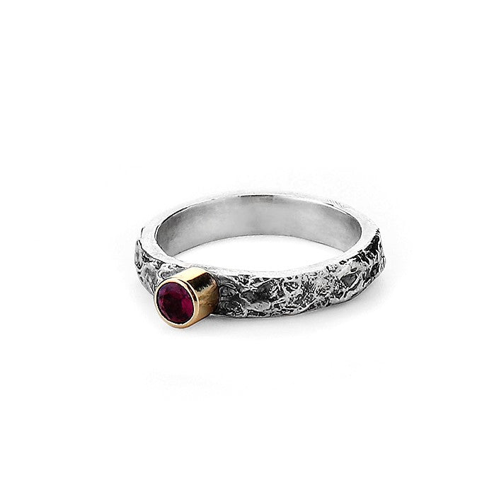 Pink Tourmaline October Birthstone Silver and Gold Textured Ring