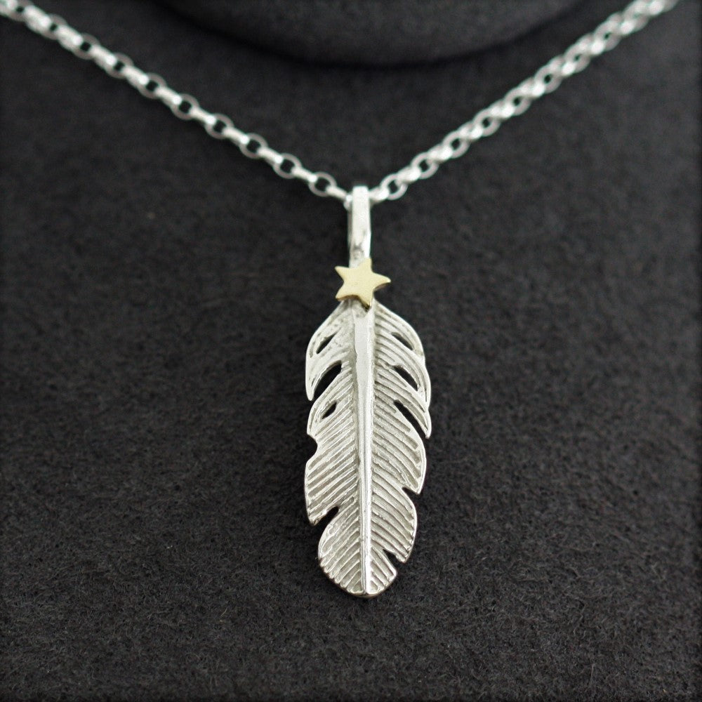 Angel feather and gold star necklace