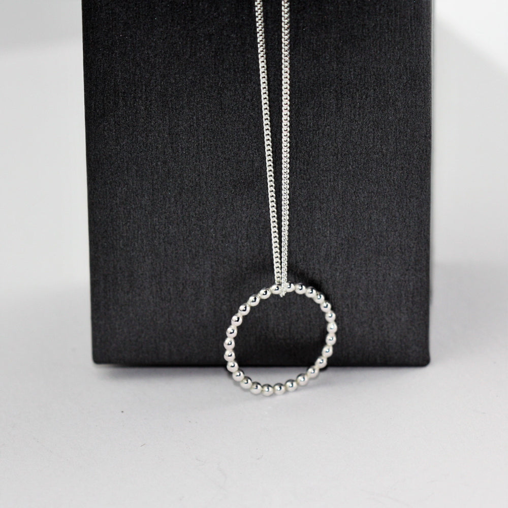 Circle pebble handmade silver dainty necklace