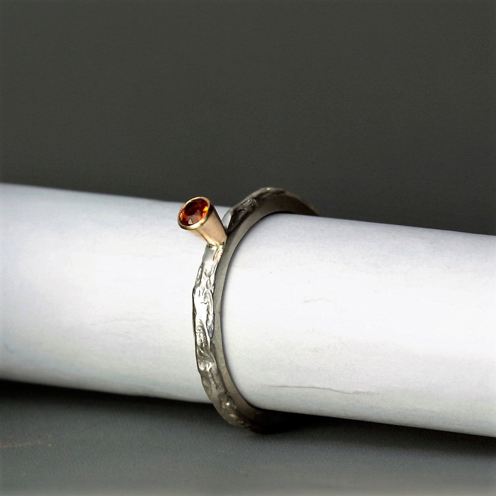 Silver and gold November Citrine Birthstone ring