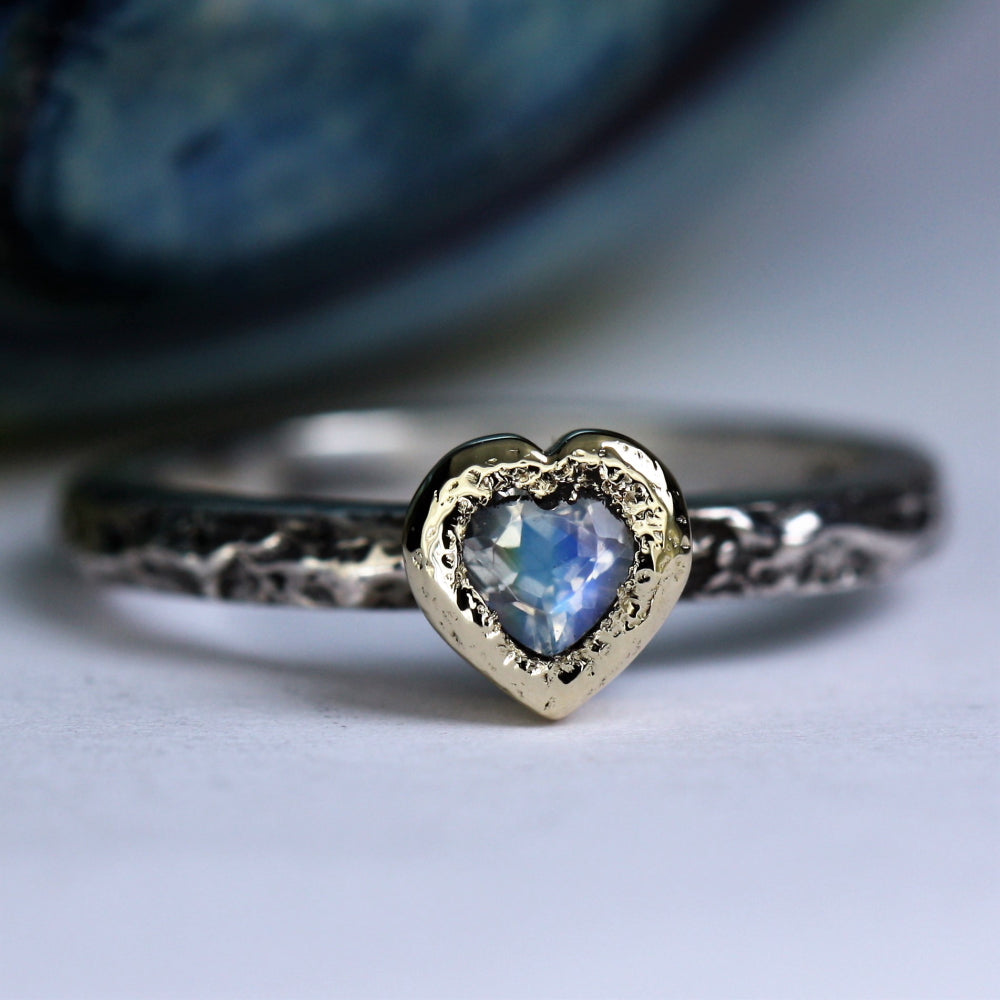 Moonstone June Birthstone silver and gold textured Oxidized Ring