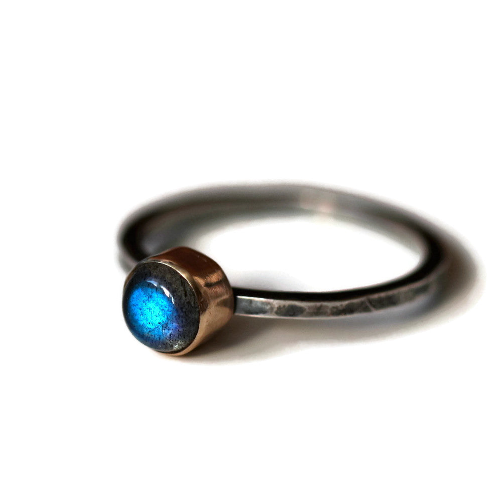 Labradorite silver and gold blossom hammered blossom ring