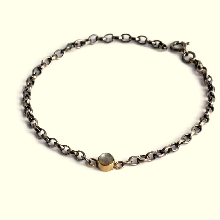 Labradorite power gemstone, silver and gold blossom bracelet