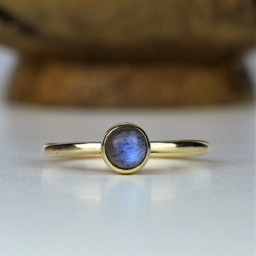 Solid Gold Labradorite stackable ring
