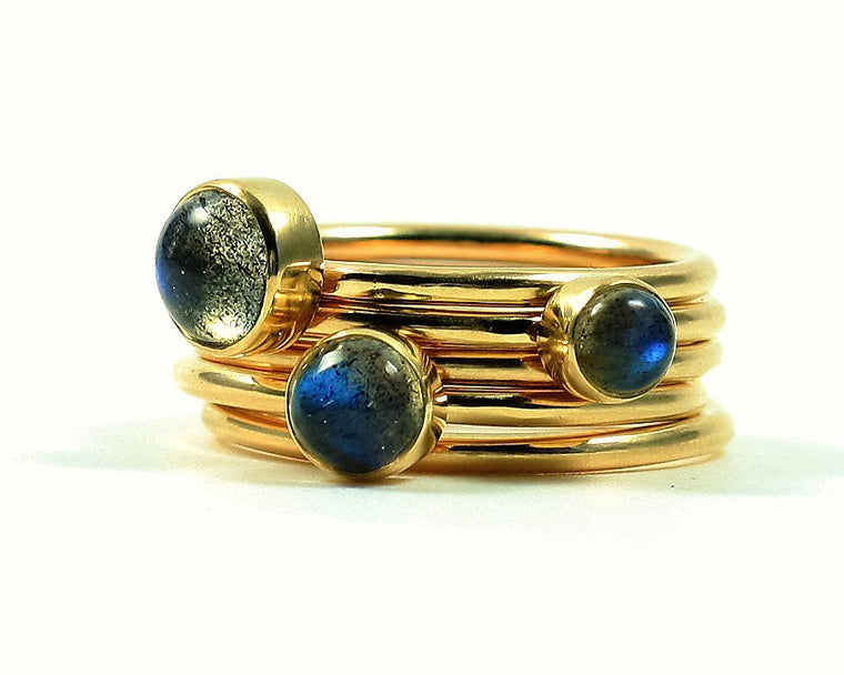 Handmade Solid Gold Labradorite Stacking Ring Set