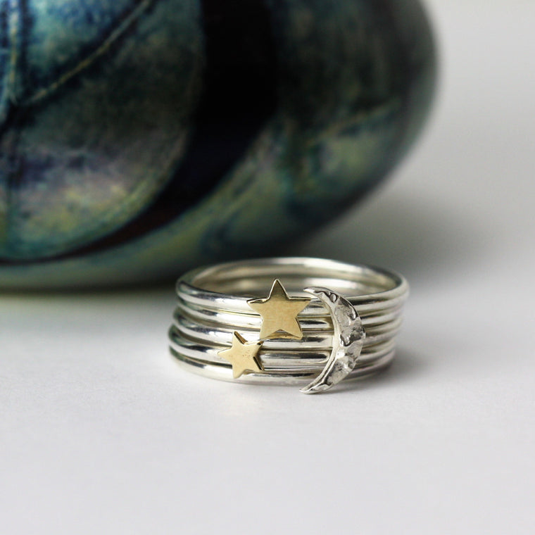 Sterling Silver Moon and Star Stacking Ring