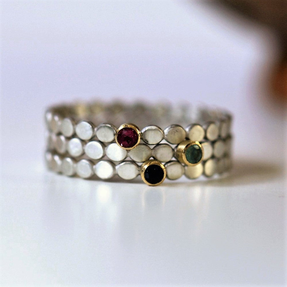 unusual stackable gemstone silver and gold rings