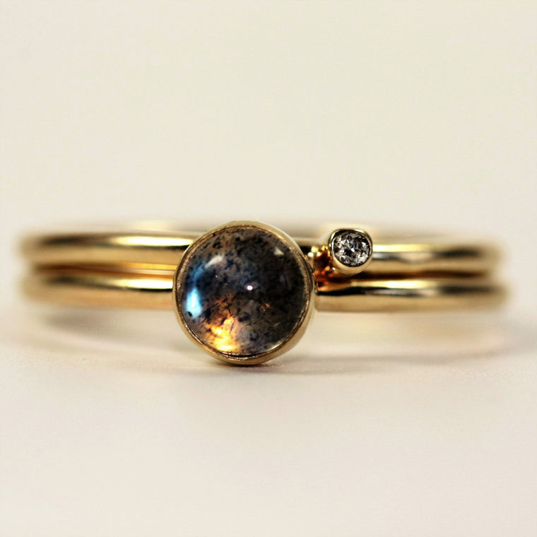 Handmade Labradorite & Diamond Solid Gold Stacking Ring Set