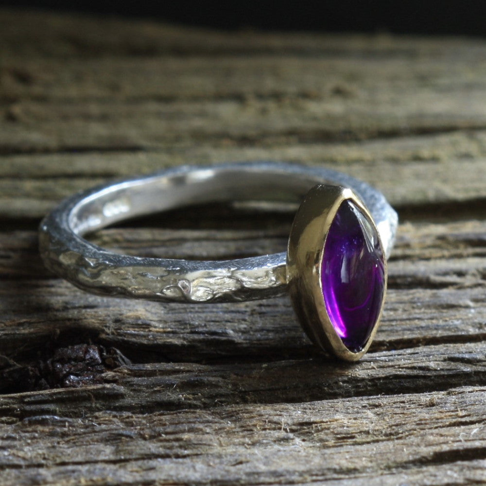 Silver and Gold February Birthstone Amethyst Ring