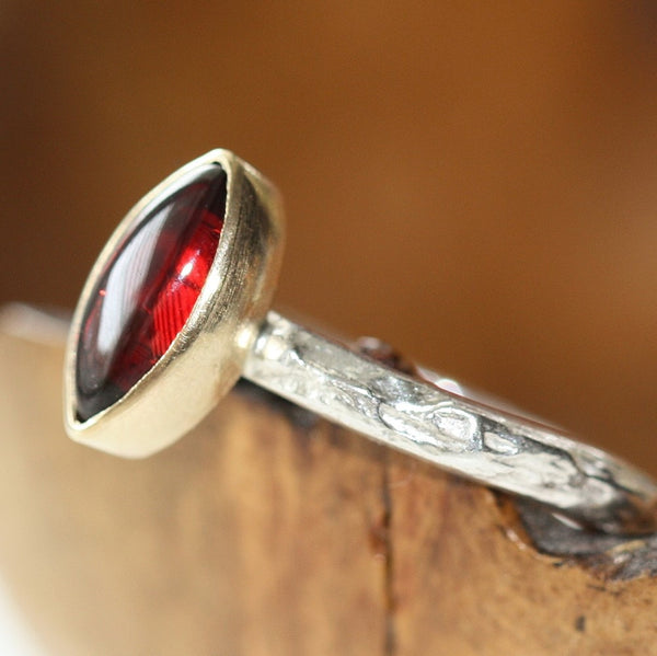 Marquise Garnet silver and gold textured ring