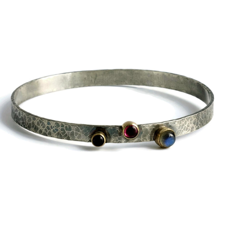 blossom hammered labradorite, amethyst and pink tourmaline silver and gold rustic bangle