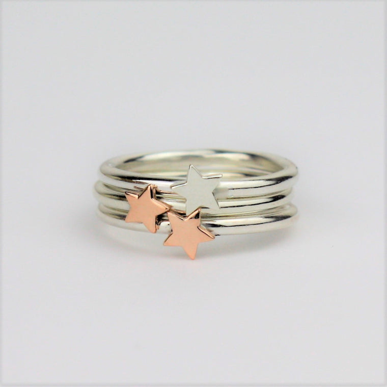 Silver and gold mixed metal Luna star stacking ring set