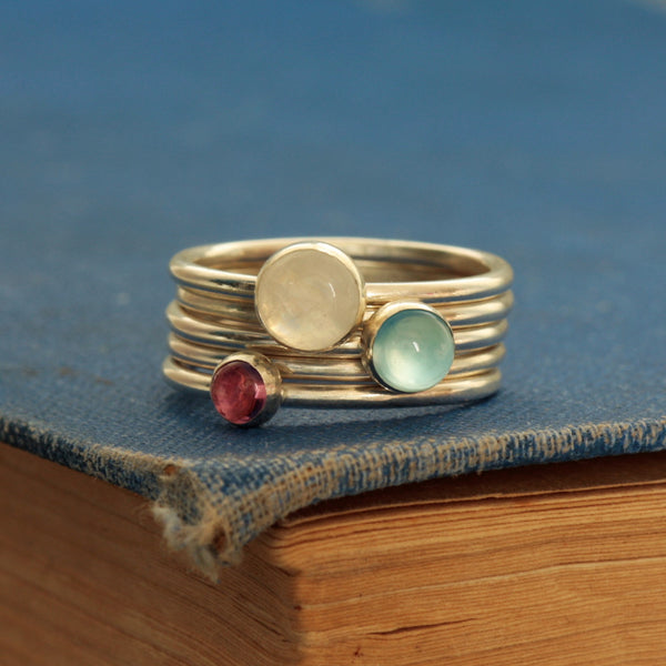 Blue Chalcedony, Moonstone and Tourmaline ring