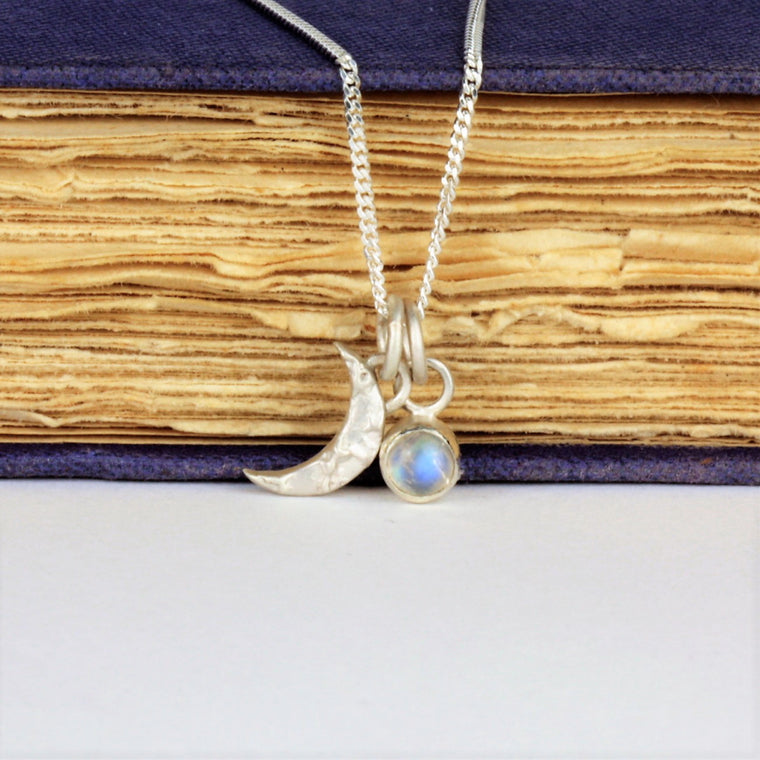 Silver Luna moon and Moonstone gemstone necklace