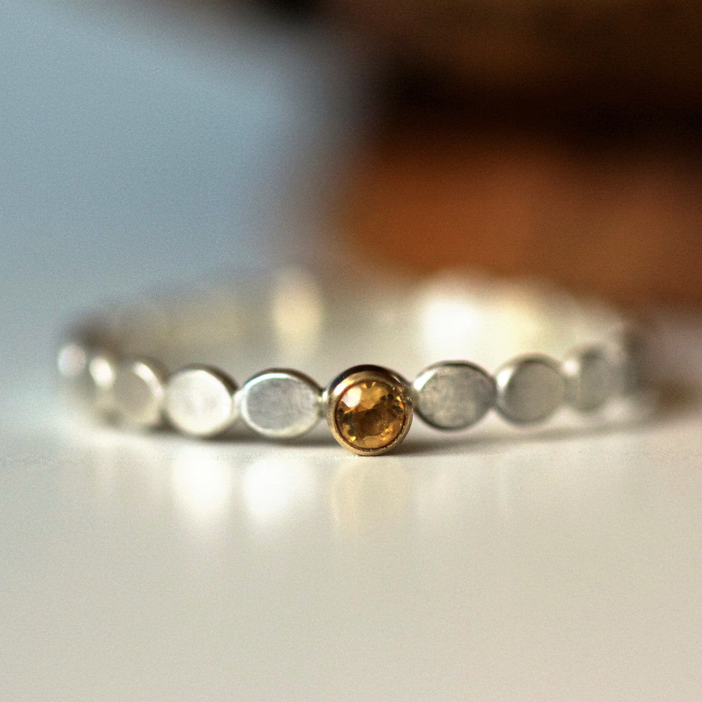 November Citrine birthstone silver and gold pebble ring
