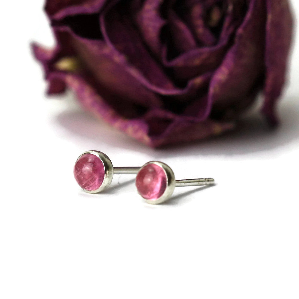 handmade pink Tourmaline Octobers birthstone silver studs