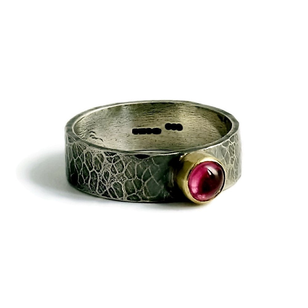 unique & rustic silver & gold pink tourmaline wide ring