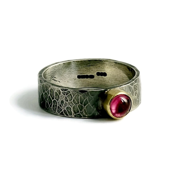 Pink tourmaline hammered gemstone ring