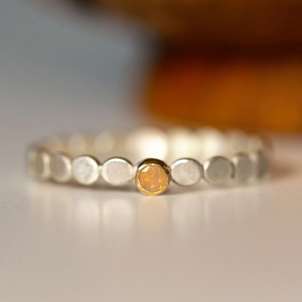October dainty opal birthstone stackable ring band