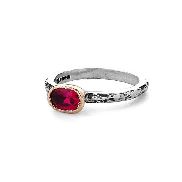 Oval Pink Tourmaline Oxidized silver and gold Textured Ring