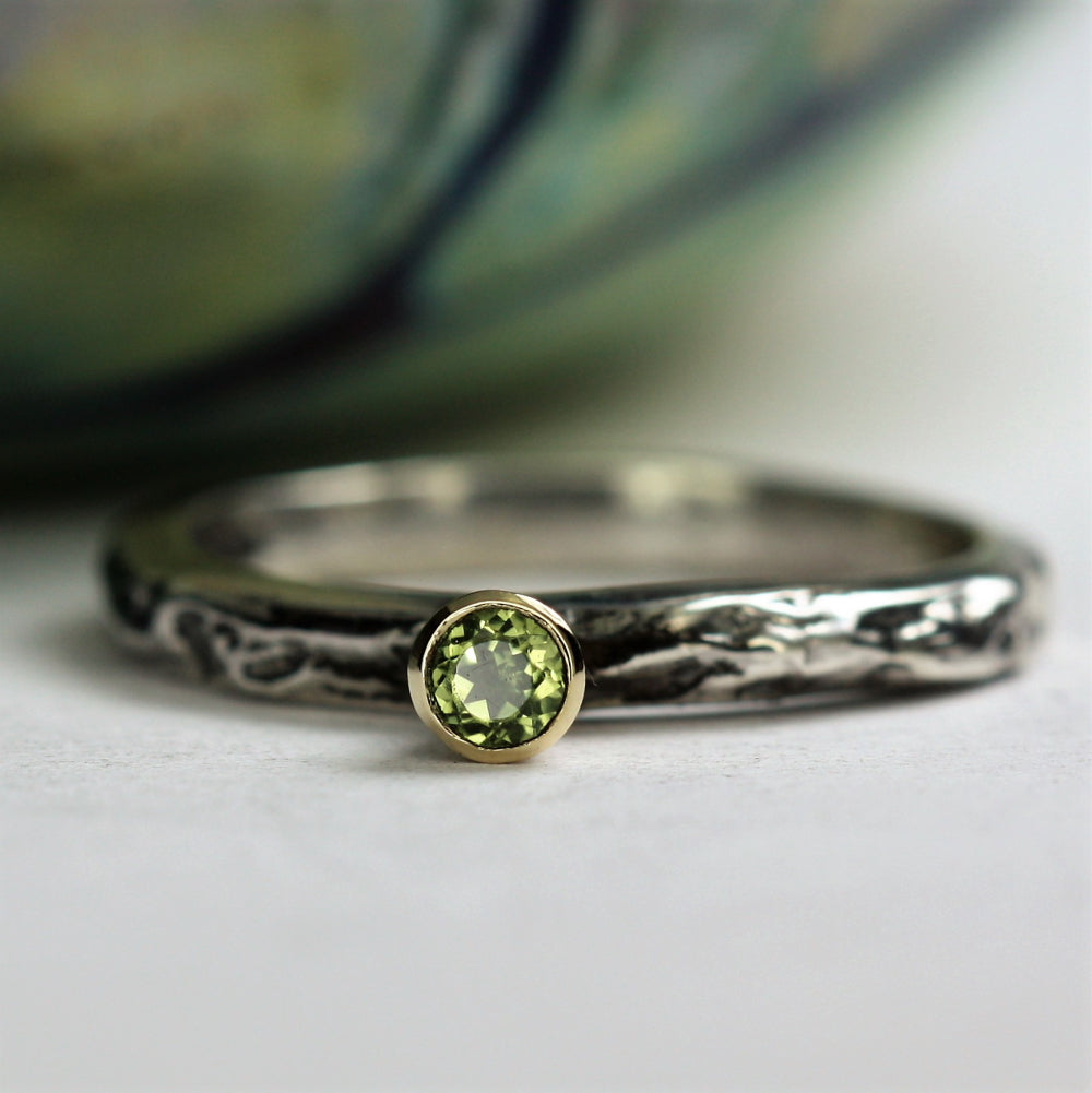 unusual Peridot birthstone stackable ring