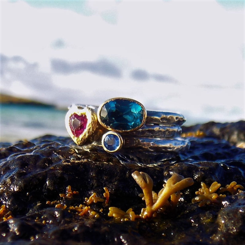 Tourmaline, Blue Topaz and Sapphire Rings