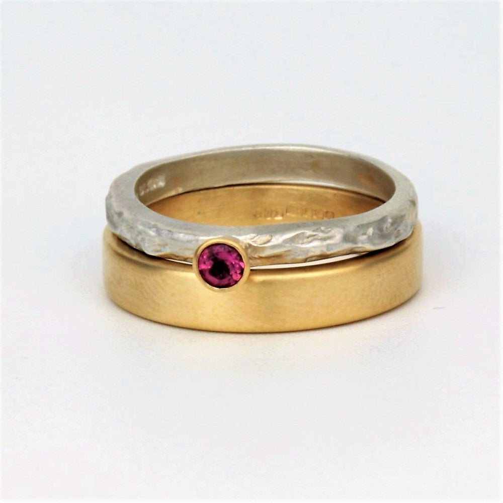 Tourmaline October Birthstone silver and gold ring