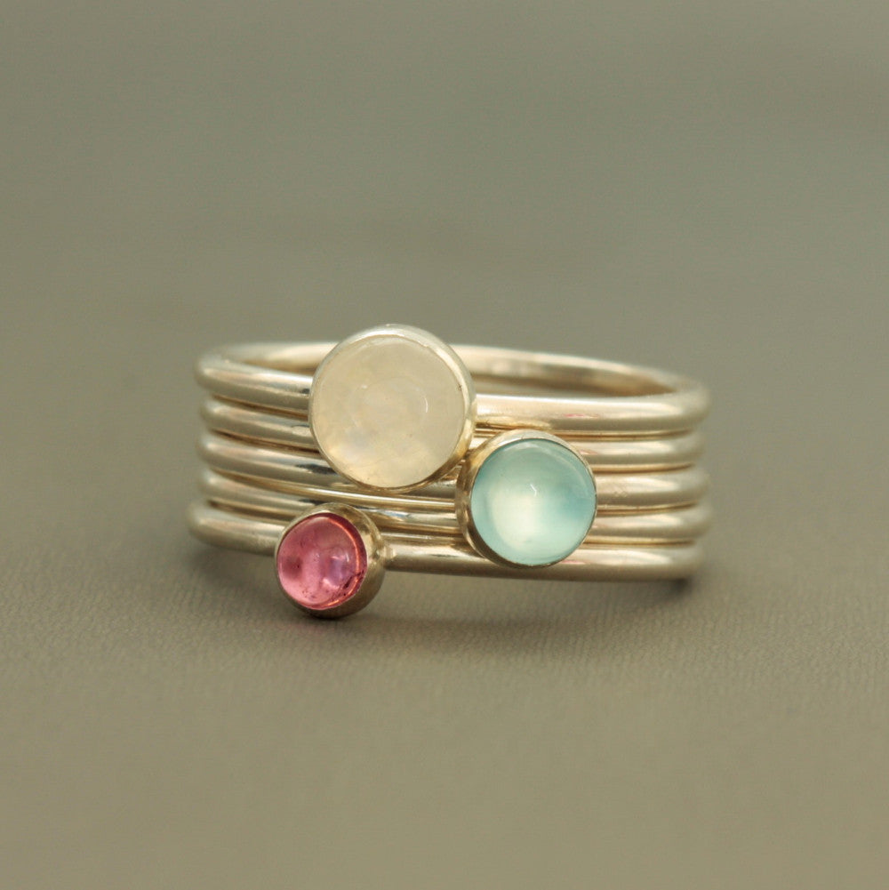 Sweat Pea sterling silver gemstone stacking rings