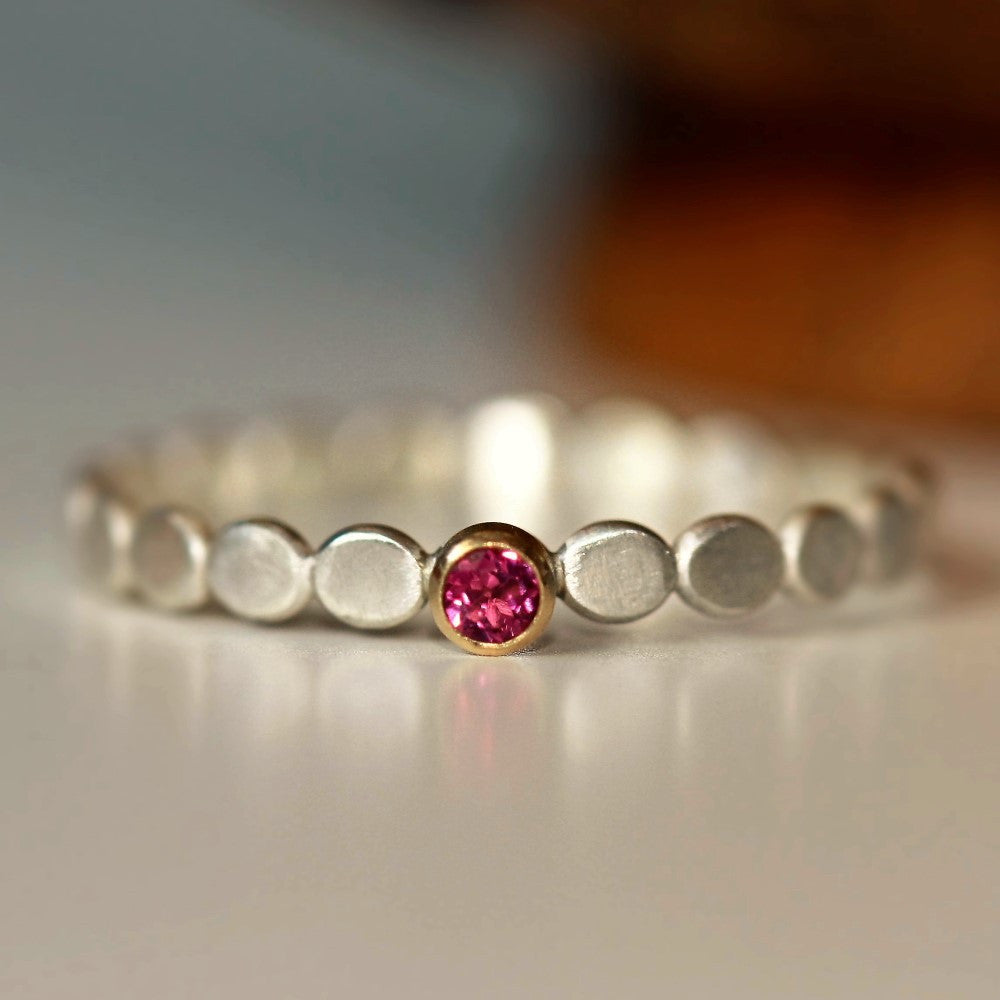 October birthstone pink Tourmaline dainty pebble ring