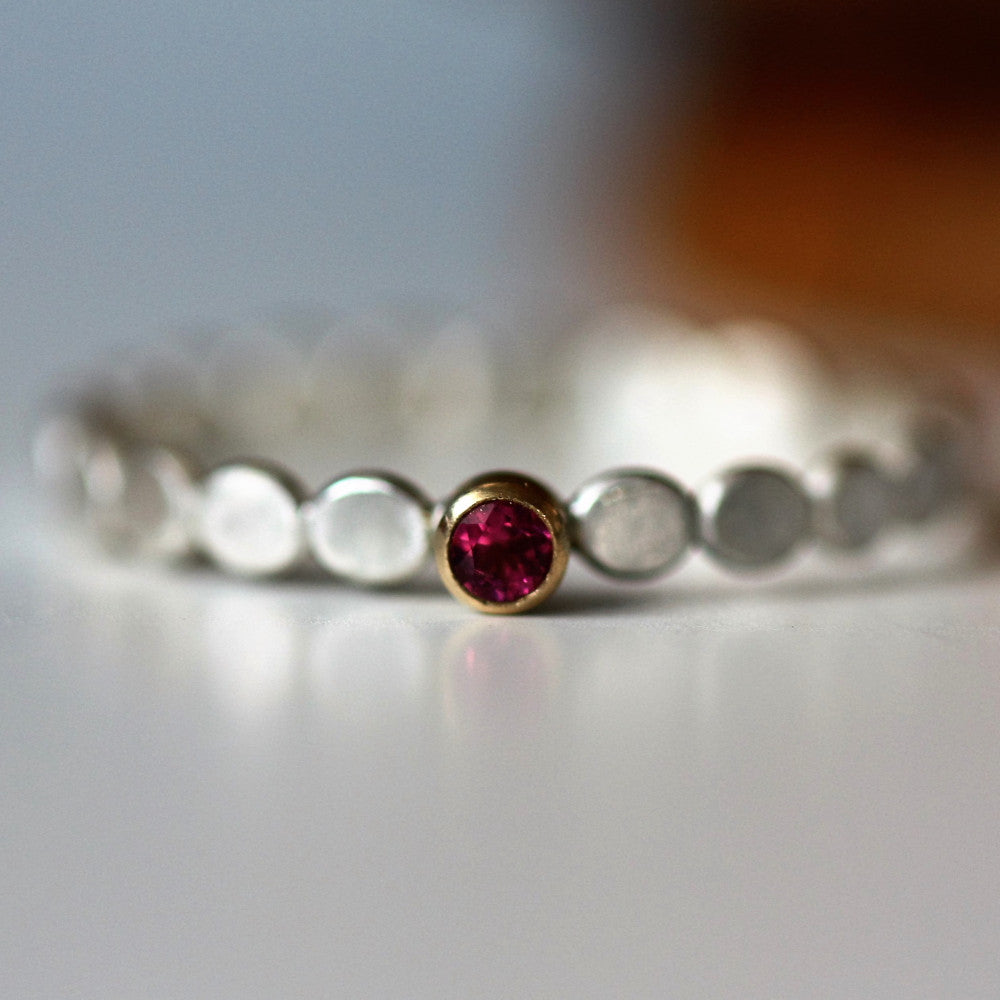 Rhodolite garnet Birthstone pebble ring for January