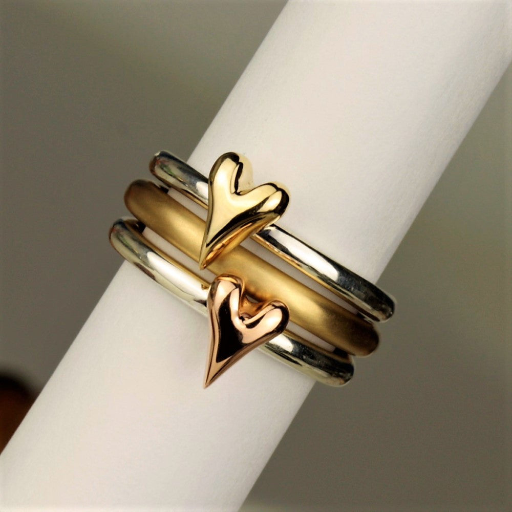 Gold and Rose Gold Heart Artisan Rings