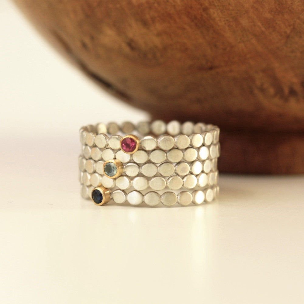 Pebble silver and gold gemstone stacking ring
