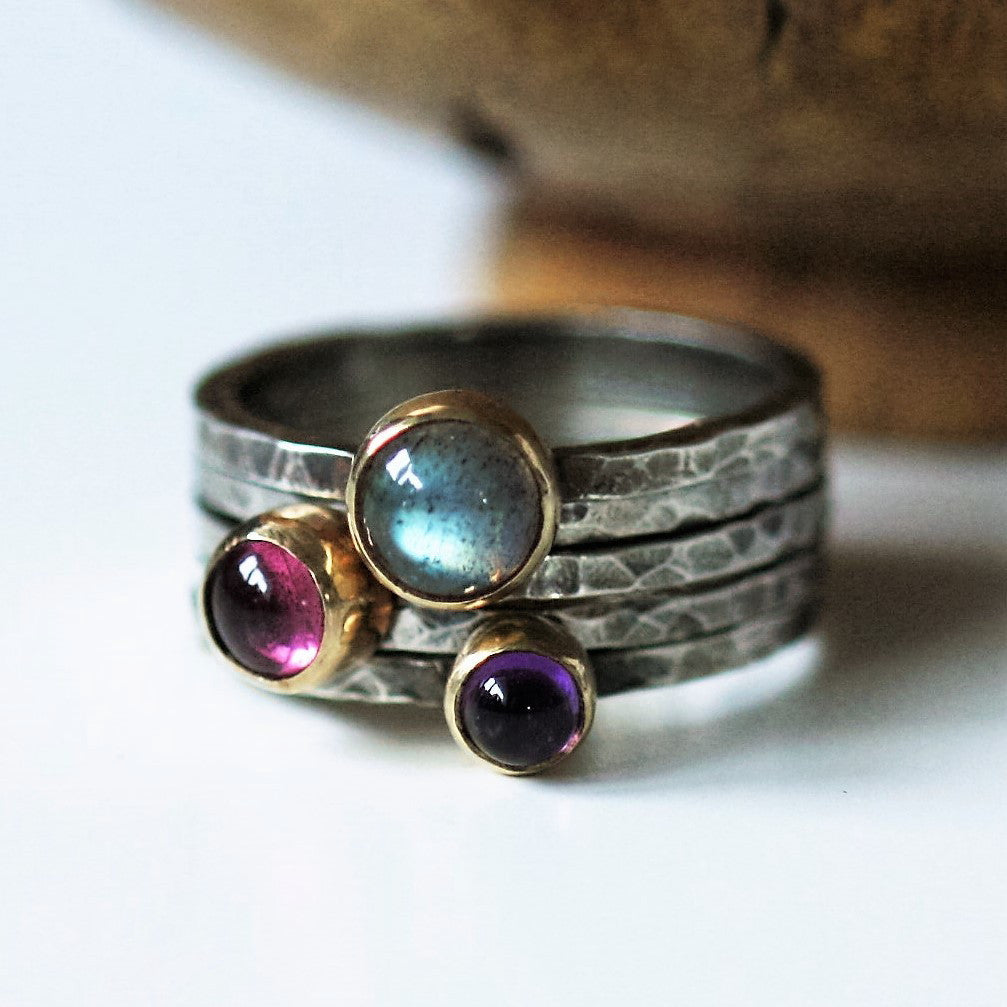 pink tourmaline, labradorite and amethyst silver and gold blossom stacking rings
